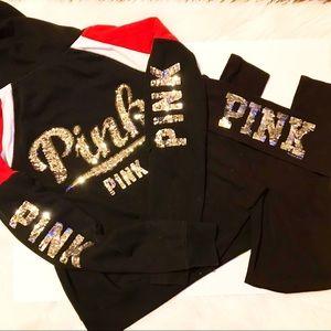 Set of Pink rhinestone hooded Jacket & lounge pant